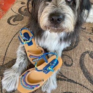 CHANEL 2017 Cork Tweed rope slingback sandals